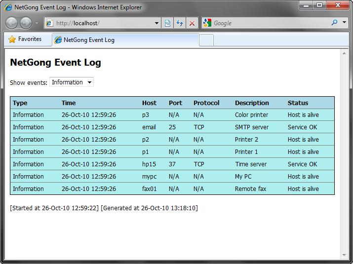 Event Log Screenshot